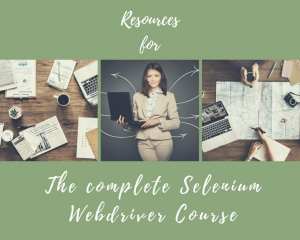 Resources page for complete Selenium course