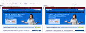an example of applitools visual validation test using layout match on Paychex website