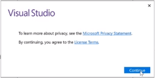install visual studio continue button