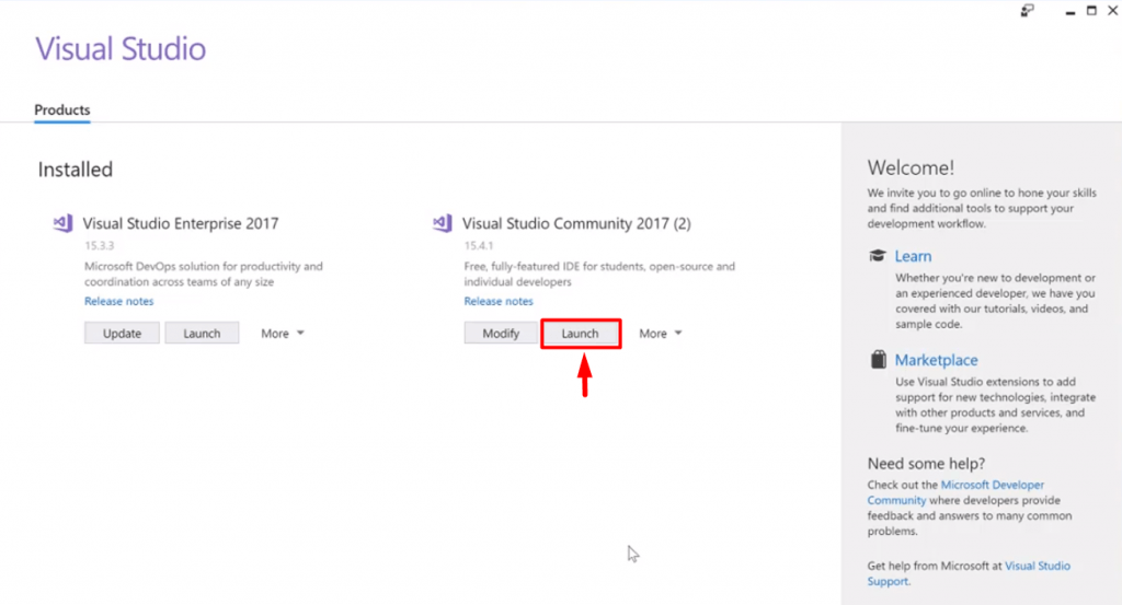 launching visual studio community edition
