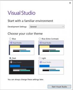 selecting visual studio dark theme