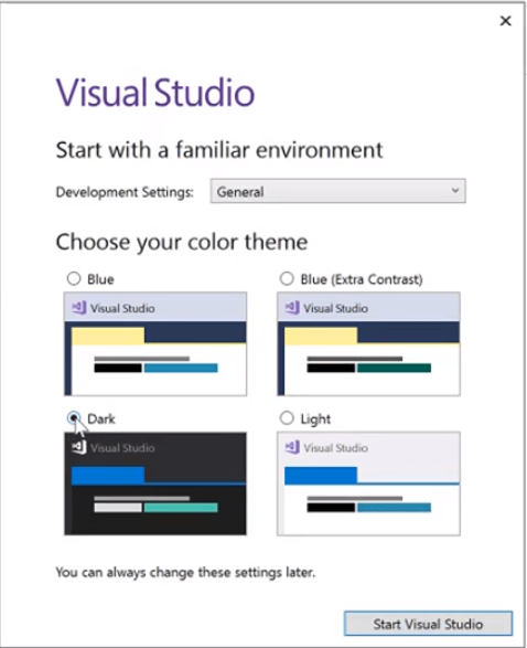 selecting visual studio dark theme