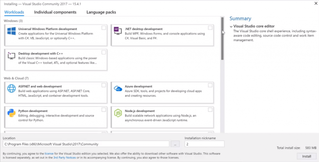 here are the components you need to install Visual Studio