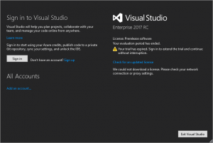 visual studio sign in sign up