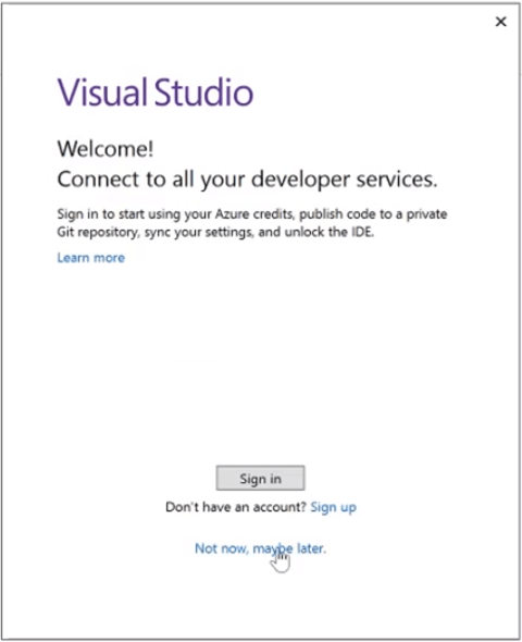 starting up visual studio