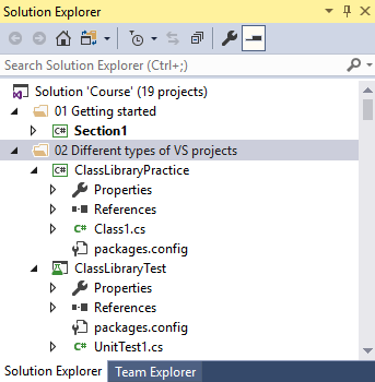 visual studio solution explorer at the top