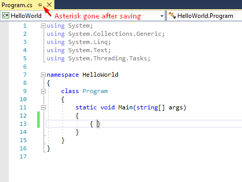 asterisk gone after saving in visual studio