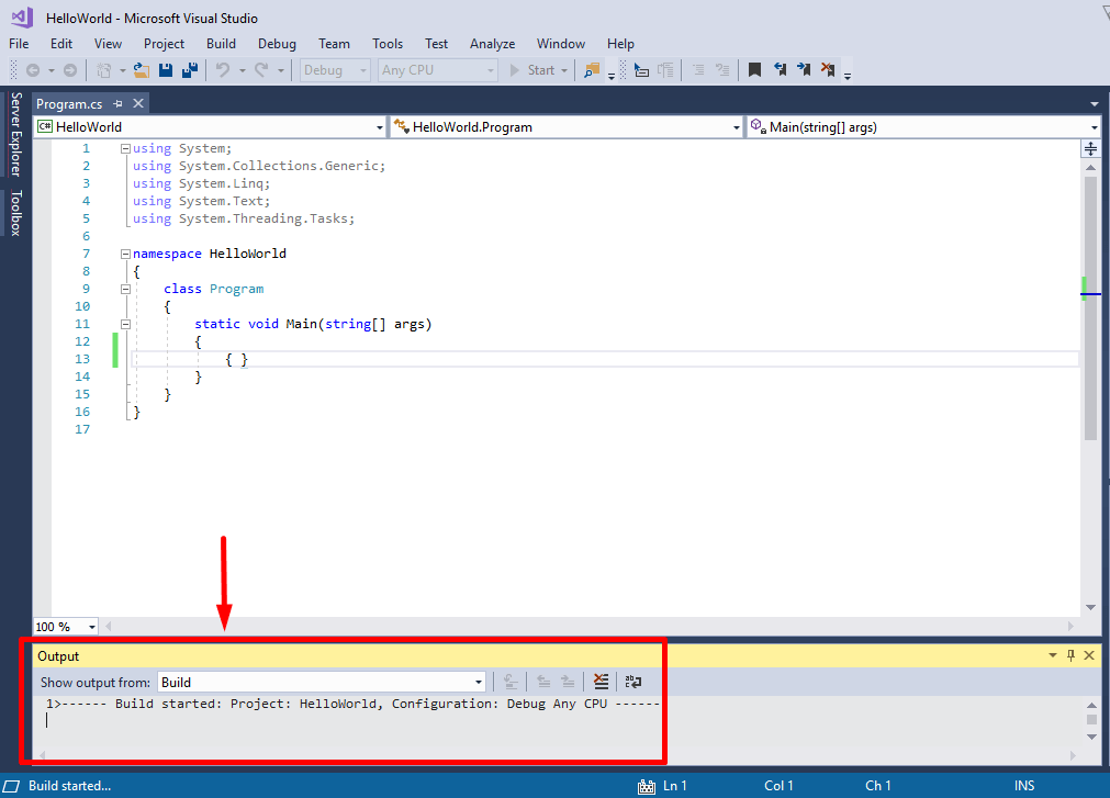 build started in visual studio