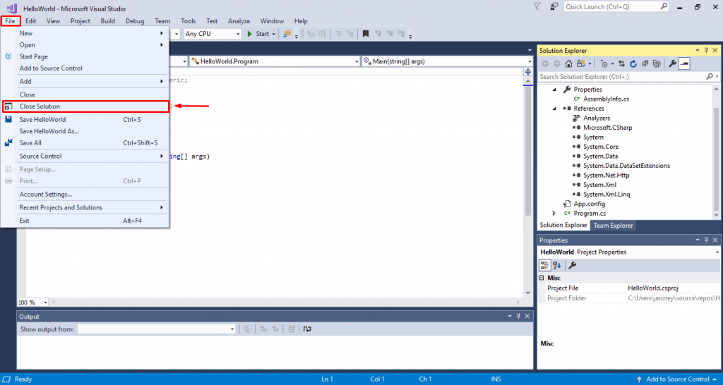 how to close solution in visual studio