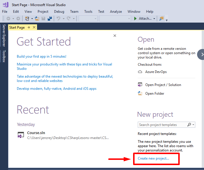 create new project in Visual studio