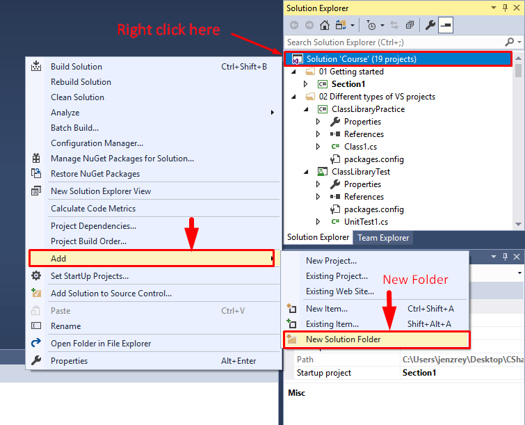 Create new solution folder in Visual studio solution