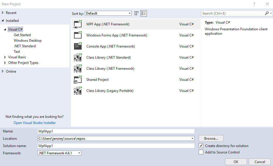 visual studio new project window