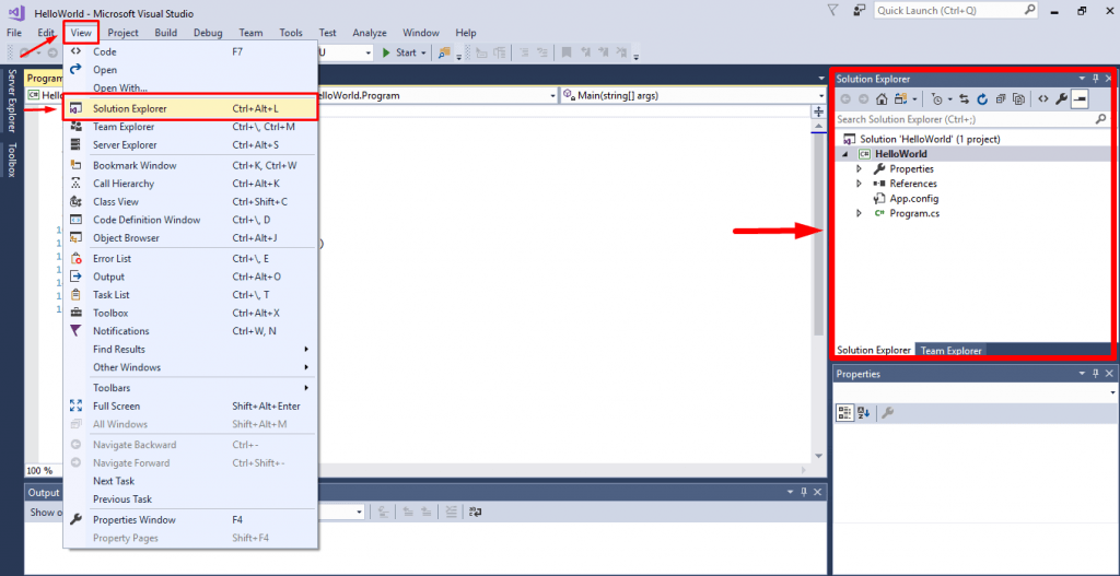visual studio open solution explorer