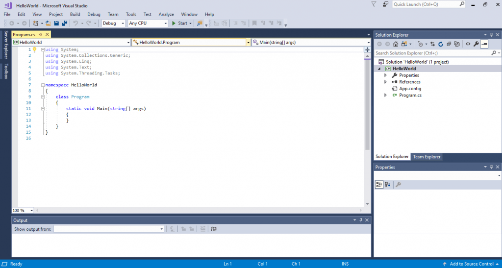opening program.cs in visual studio