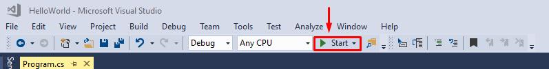 locating start button Visual studio