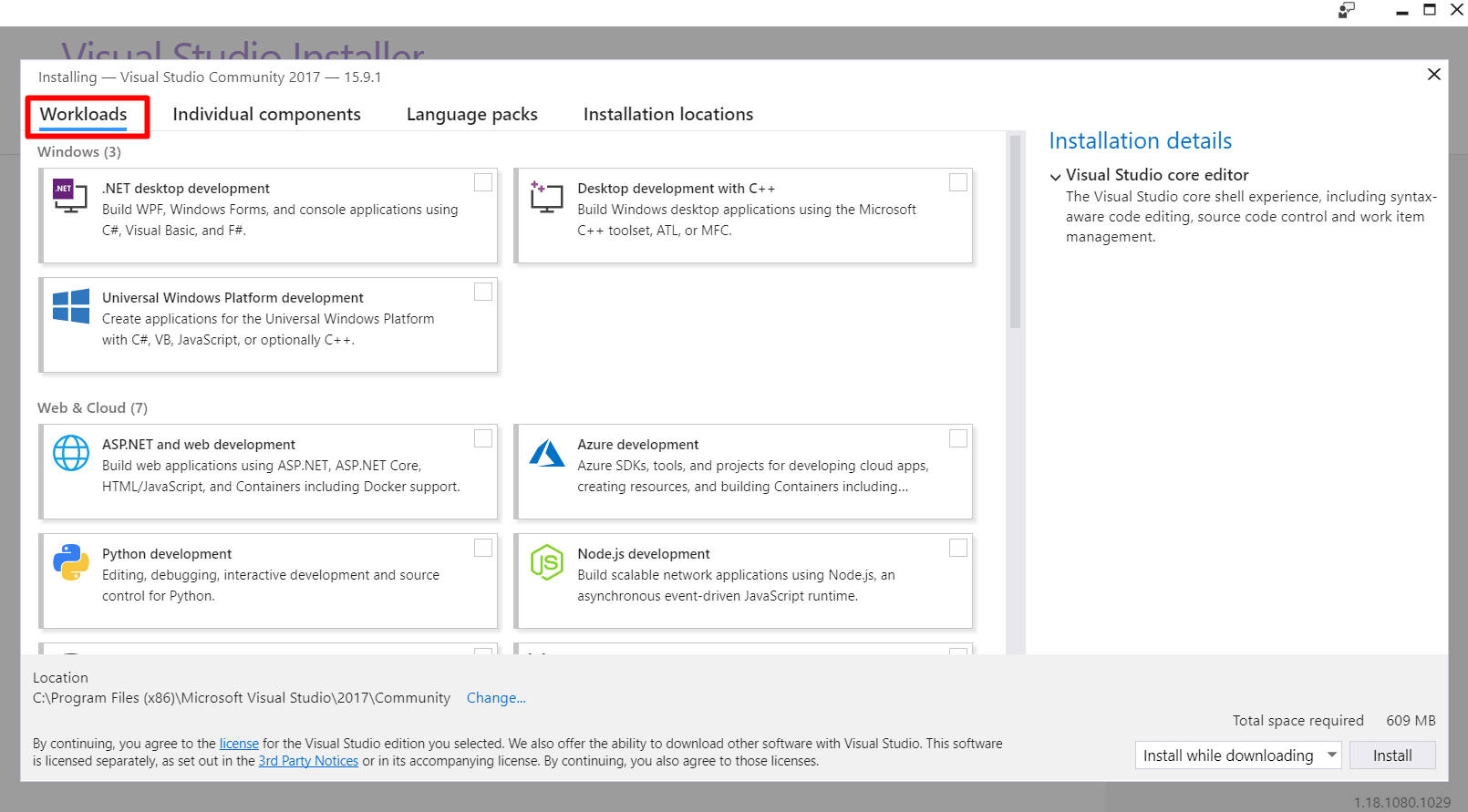 installing workloads Visual Studio 2017