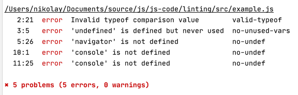 Errors produced based on our source code